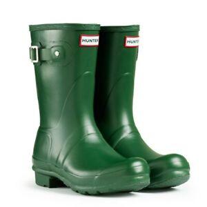 Hunter Original Big Kids Wellington Boots Green Girls Boys Wellies Size UK 10
