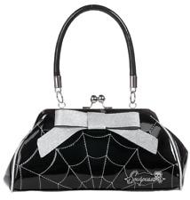 Sourpuss Floozy Web Purse Black/Silver Rockabilly Gothic Retro Derby Handbag