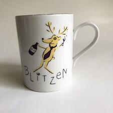 Pottery Barn Blitzen Santa's Reindeer Christmas Holiday Mug Coffee Cup 12 Oz