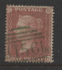 """G.B. - 1855 1d DIE II SUPERB USED WITH """"156"""" CANCEL IN GREEN  SG.21  (REF.E14)"""