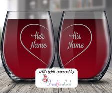 His & Her Name Anniversary Wine Glass, Happy Anniversary Personalized Gift