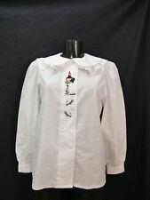 Gr.40 Trachtenbluse weiß Bluse Baumwollmischung mit Spitze Stickerei TB6482