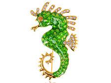Enamel Crystal Rhinestone Pin Brooch Usa Golden Tail Sea Horse Animal Green