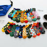 Mens Cotton Ankle Socks Novelty Animal Fruit Funny Asymmetric Unisex Dress Socks