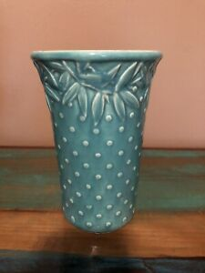 "Vintage Nelson McCoy Green Hobnail Vase 7"" tall antique"