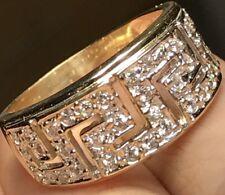 GOLD 14k Ring Band Yellow Simulated Diamond Greek Wedding 7.5 6 7 8 9 4.1g