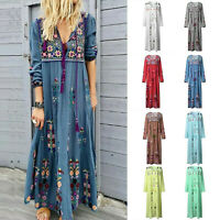 Womens Plus Size V Neck Lace Up Long Sleeve Boho Dress Party Casual Maxi Dress