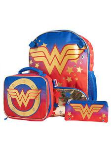 """DC Comics Girls Wonder Woman Backpack 16"""" Detachable Lunch Bag Pencil Case 3Pcs"""