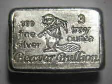 Beaver Bullion hand poured Canadian 3 troy ounce 999 fine silver bar