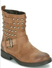 GEOX RESPIRA Girls Jr Sofia C Suede Leather Studded Zip Brown kids Boots Shoe