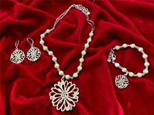 Brighton Flure Sure Flower Necklace, Earrings, Bracelet Set Crystals, beads New