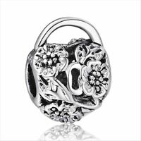 silver GOLD OPENWORK HEART charm bead fits 925 sterling european bracelet Bangle