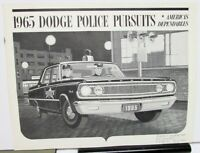 1965 Dodge Polara Coronet Police Pursuit Sales Brochure Wagon Original