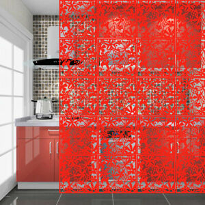 Red Room Divider Screens Hanging Room Partition Panel Hotel Home Decor 15x15inch