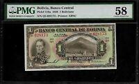 Bolivia 1 Boliviano 1928 PMG 58   Pick # 118a