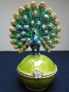 New Beautiful Peacock Trinket Dish Swarovski Crystals From Museum Selection