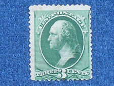 George Washington 1887 Series Green 3 Cent Stamp/Scott #214/Clean Used-Hinged