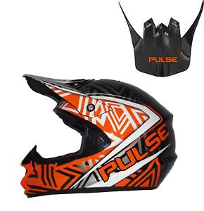 PULSE TORNADO ORANGE MOTOCROSS MX ENDURO QUAD ATV HELMET WITH REPLACEMENT PEAK