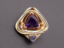 14k Yellow Gold 1.50ct Trillion Cut Tanzanite Amethyst Pendant