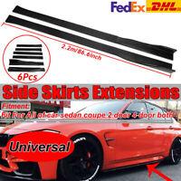 "86.6"" Carbon Fiber Universal Side Skirt Extensions Rocker Panel Splitters Lip"