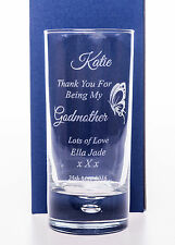 Personalised/Engraved GODMOTHER BUTTERFLY Highball Glass Christening Gift