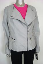 Alfani Women's Gray PLeather Long Slv Jacket w/ Zipper Pockets M