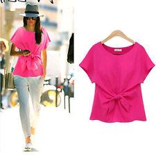 New Womens Casual Chiffon Blouse Short Sleeve Shirt T-shirt Summer Blouse Tops