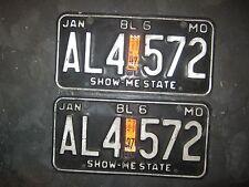 1980,1997 dated sticker JAN  BL 6 MO,AL4-572 Missouri  License Plate Pair black