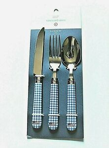Vineyard Vines x Target 3 Piece Flatware Set Gingham Print with Whale Logo
