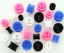 1 Pair Anchor Silicone Tunnels Flexible Ear Plugs Gauges Soft Pick Size & Color!