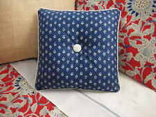 NEW Custom Ralph Lauren Cote D'Azur Blue Floral Throw Pillow 1 Button Cream Trim