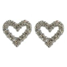 CZ Heart Sterling Silver 925 Rhodium Plate Earrings