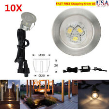 10XWarm White LED Deck Step Lights Low Voltage Outdoor Stairs Yard Rail 12V 30mm