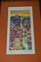 Abstract Vintage VENICE Modern Colorful Signed Professionally Framed Print Rare