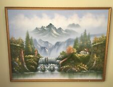 R.BOREN HUGE OIL ON CANVAS WATERFALL LANDSCAPE PAINTING