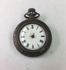 Antique Vintage Ornate Gavour Solid 800 Silver Decorated Case Pocket Watch