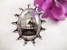Women's Ring Size 6 Dichroic Glass Bird Cage w Birds Sterling 925 Black Purple