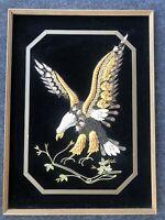 Vintage Mid Century Modern Black Felt Eagle Art Handmade Wall Art