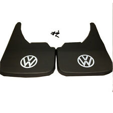 White Logo Universal Car Mudflaps Front Rear to fit VW Fox Golf Jetta Guard