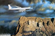signed ltd ed aviation art print Air Force One Boeing 707 Jet Mt. Rushmore