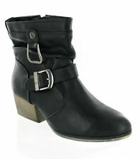 Womens Fashion Cowboy Buckle Ankle Casual Zip Up Block Heel Boots UK 3-8