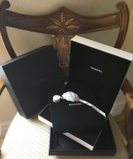 CHANEL WHITE / BLACK FAUX LEATHER NECKLACE JEWERLY BOX + WHITE CHANEL RIBBON