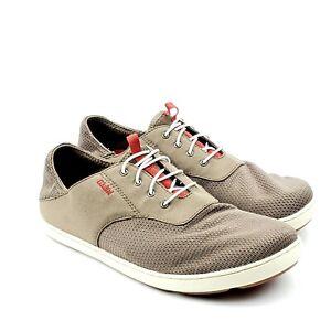 Olukai Nohea Moku Rock Mustang Olive Green No Tie Boat Shoes Mens 9.5M EU 42.5