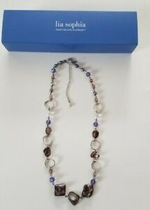 Lia Sophia Stone Glass Shell Beaded Long Silver Tone Chain Fashion Necklace