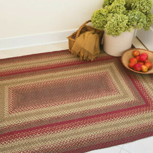 HOMESPICE BRAIDED JUTE FARMHOUSE COUNTRY RUSTIC RUGS ~ CIDER BARN RED