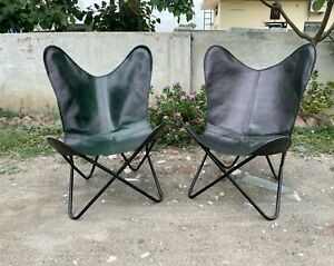 Green Leather chair for bedroom living room butterfly chair gift set of 2 chair