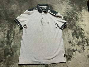 Armani Exchange Grey Polo Shirt With Black Accents Mens Size Small