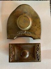 Antique Brass Desk Set Ink Well and Blotter Rose Cutouts