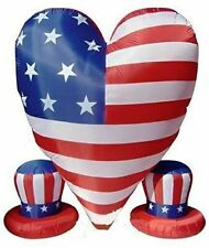 6 Ft Patriotic 4Th Of July Uncle Sam'S Hat Large Heart Air Blown Inflatable