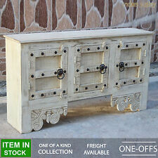 Indian Antique Design Door Sideboard White Cream sideboard buffet hutch console